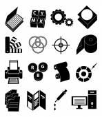 Printing press icons set
