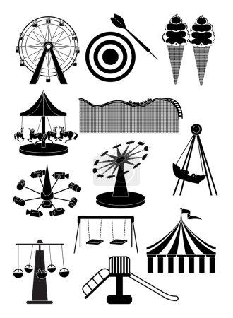 Carnival amusement park icons set