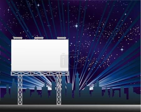 City nightlife with billboard