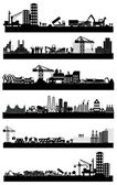 Industrial building sites icons