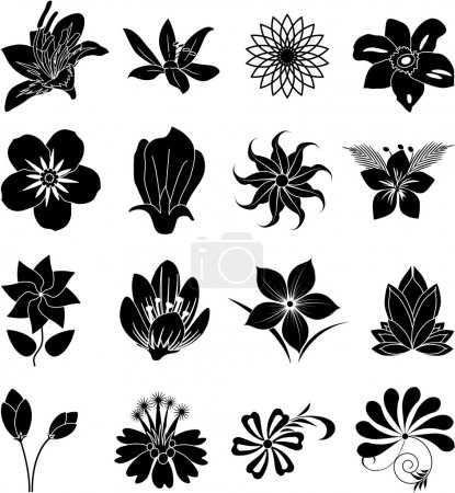 Illustration for Flower silhouette icons set on white background, vector - Royalty Free Image