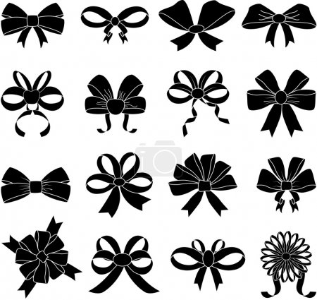 Illustration for Ribbon bows icons set on white background, vector - Royalty Free Image