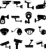 Security camera icons set on white background vector
