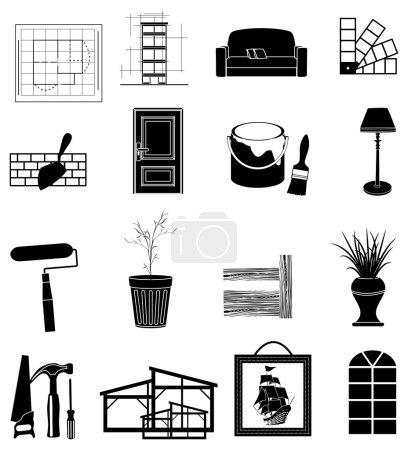 Illustration for Black interior design icons set - Royalty Free Image