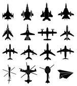 Aircraft icons set on white background