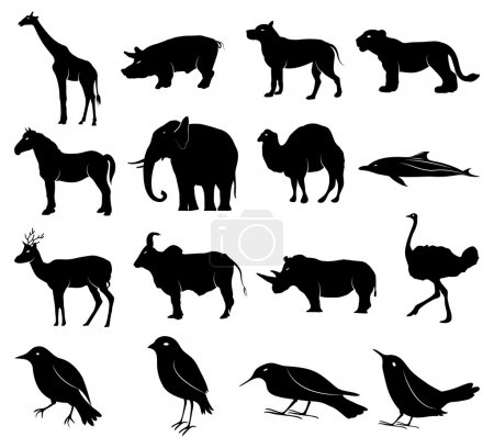 Illustration for Animals icons set on white background - Royalty Free Image