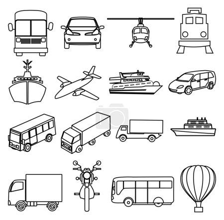 Transportation vehicles line icons set