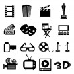 Cinema icons set, vector illustration...
