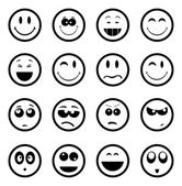 Smiley faces on white background