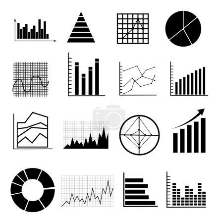 Analyse graphs charts icons set