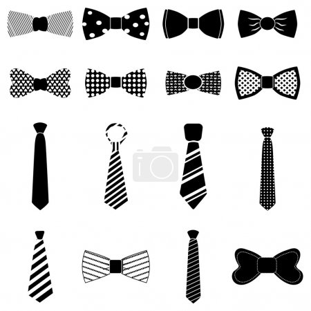 Illustration for Bow Tie icons set Isolated on white background - Royalty Free Image