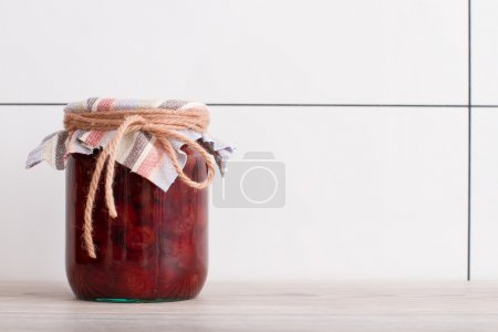 Photo for Strawberry in a glass jar close up - Royalty Free Image
