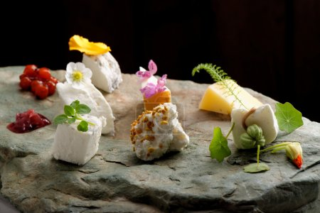 Photo for Fine dining cheese plate on the stone - Royalty Free Image