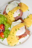 Eggs Benedict- toasted English muffins