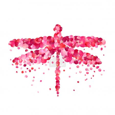 Illustration for Vector illustration - dragonfly of pink rose petals - Royalty Free Image