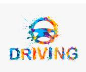 Driving school logo Steering wheel of rainbow splash paint