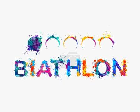Word BIATHLON Rainbow splash paint