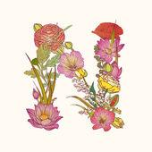 Floral alphabet Letter N