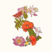Floral alphabet Letter S