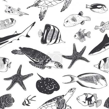 Seamless summer pattern. Sea and ocean inhabitants. Fish, turtle
