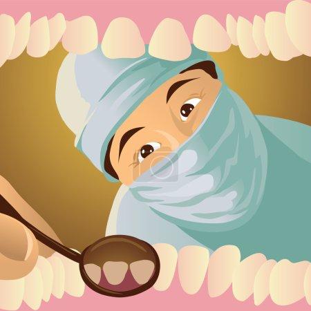 Illustration pour Le dentiste examine vos dents. Vue de la bouche du patient - image libre de droit