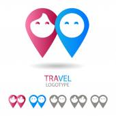 Vector sign for a couple of travelers (tourists) Blue and pink map markers on a white background Caption: Travel logotype