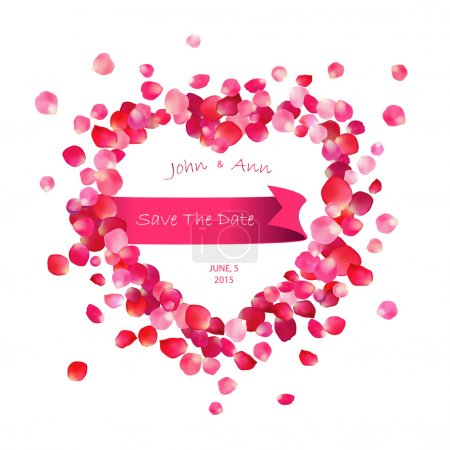 Illustration for Ribbon inside the heart of rose petals on white background - Royalty Free Image