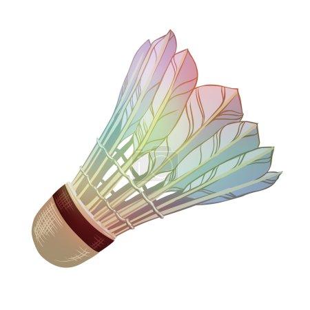 Vector illustration: feather shuttlecocks for badminton isolated on white background