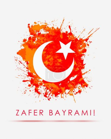 August 30 - Greeting card. Inscription: Victory  Day. Turkey Flag.