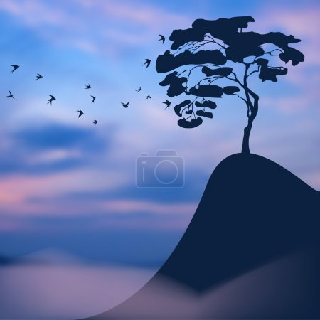 Illustration for Landscape: lonely tree on a precipice - Royalty Free Image