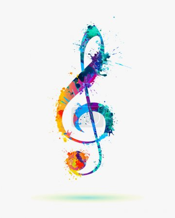 treble clef in rainbow colors