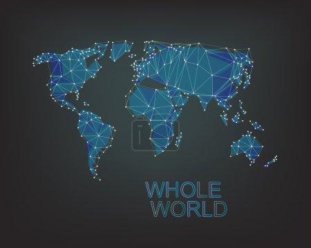world map on dark