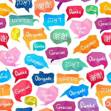 """Illustration for Seamless pattern - speech bubbles with word """"Thank you"""" on different languages (English, Chinese, Spanish, Russian, Arabic, Hebrew, Portuguese, German, Hindi) - Royalty Free Image"""