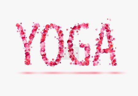 "Word ""YOGA"" of pink rose petals"