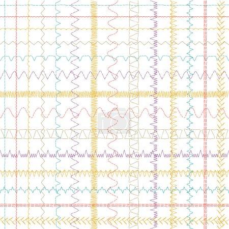 seamless pattern - sewing machine stitches