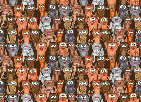 Kittens and cats seamless pattern. Vector endless background design. Funny cartoon pets.