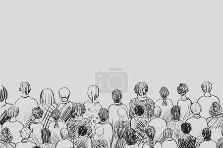 Illustration pour Croquis simple d'une petite foule de personnes différentes - image libre de droit