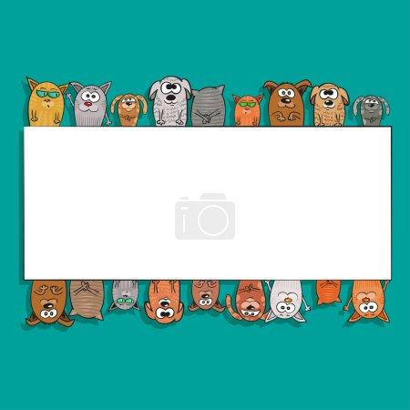 Illustration pour Chats et chiens - cadre ou motif avec animaux domestiques. Modèle de fond pour le texte, pour la carte ou la bannière. Dessin animé à la main style. Illustration vectorielle - image libre de droit