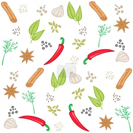 Vector pattern with spices, vector food background