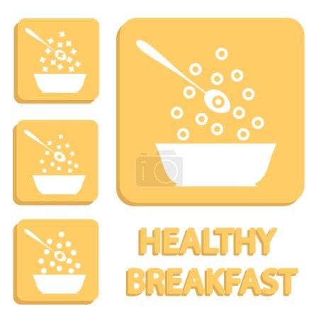 Breakfast cereals or snacks - vector healthy food icons.