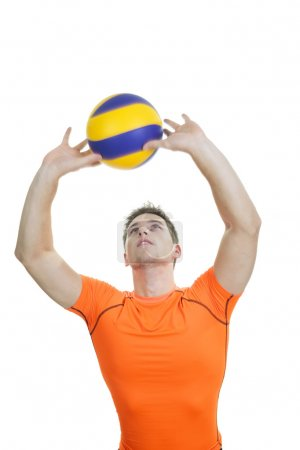 young volleyball player on white background