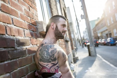 A sexy man with tattoo