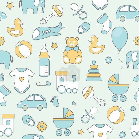vector  pattern with line flat baby icons