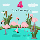 Illustrator of number four with flamingos