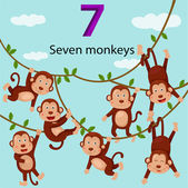 Illustrator of number seven monkeys