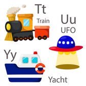 Illustrator for vehicles set 4 with Train UFO and yacht
