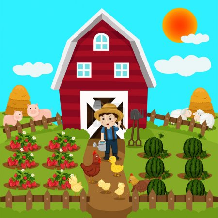 Illustration for Illustrator of farm animal and fruit - Royalty Free Image