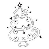 Black and White Cartoon Vector Illustration Christmas Tree with Christmas toys and balls