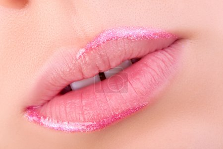 Pink lips close-up.