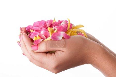 Photo pour Beaux ongles roses sur fond blanc avec des fleurs . - image libre de droit